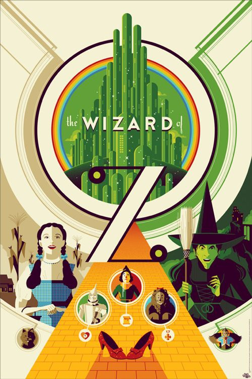 "Tom Whalen's Art Deco Style ""Wizard of Oz"" Print/Poster"