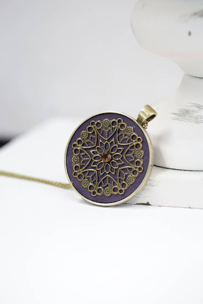 Purple Black Leather Bronze Silver Pendant / Bronze Color Chain by BeautyfromashesUSA on Etsy https://www.etsy.com/listing/577511533/purple-black-leather-bronze-silver