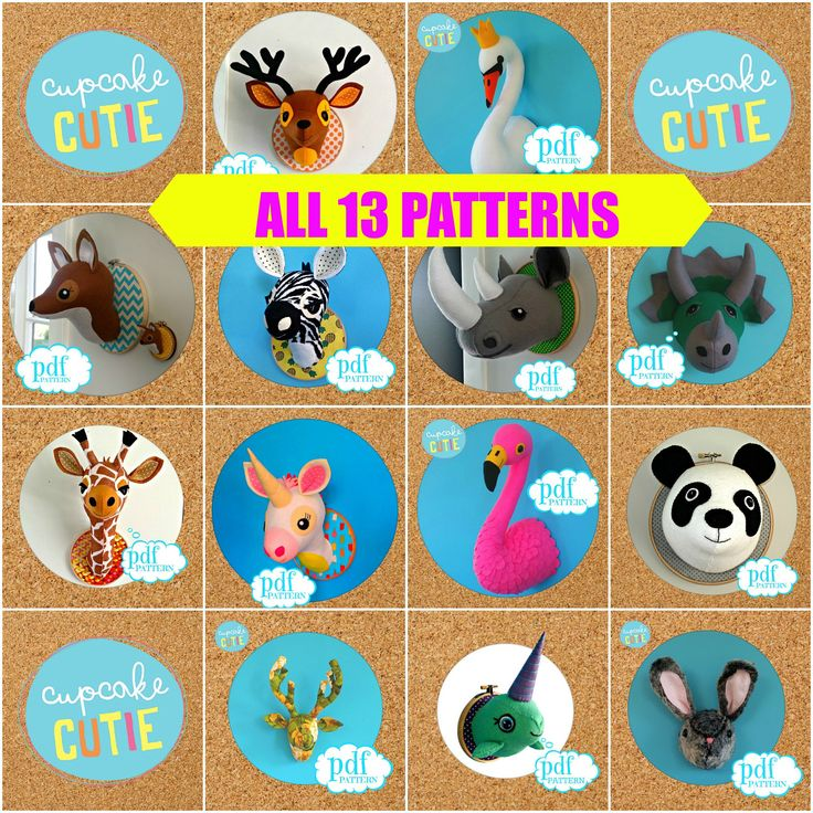Pattern Deal. All 13 Faux taxidermy patterns Giraffe, Flamingo, Panda, Swan, Zebra, Unicorn, Rhino, Narwhal, Dinosaur, Deer, Fox, Stag Bunny by cupcakecutie1 on Etsy