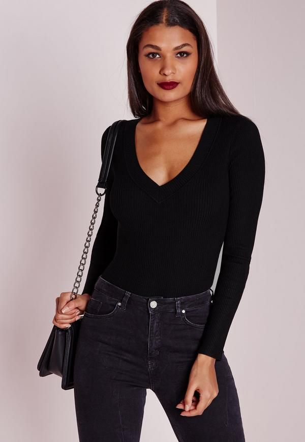Deep Plunge Bodysuit Black - Free Delivery | Missguided