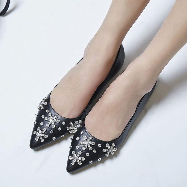 Grace Womens Stylish Rhinestone Pinty Toe Flats Slip On Date Party Boat Shoes Sz