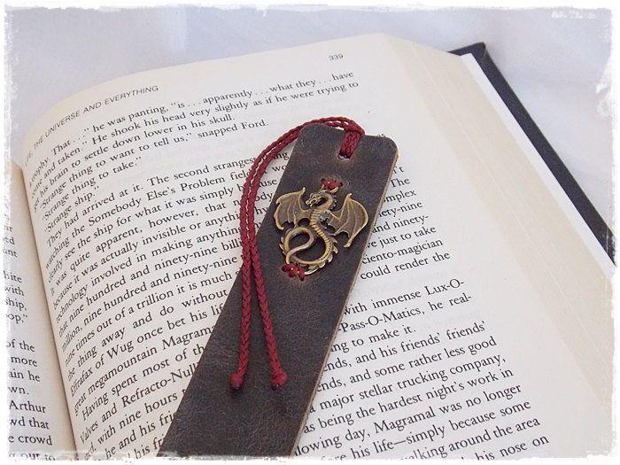 Fantasy Dragon Leather Bookmark, Bookworm Gift