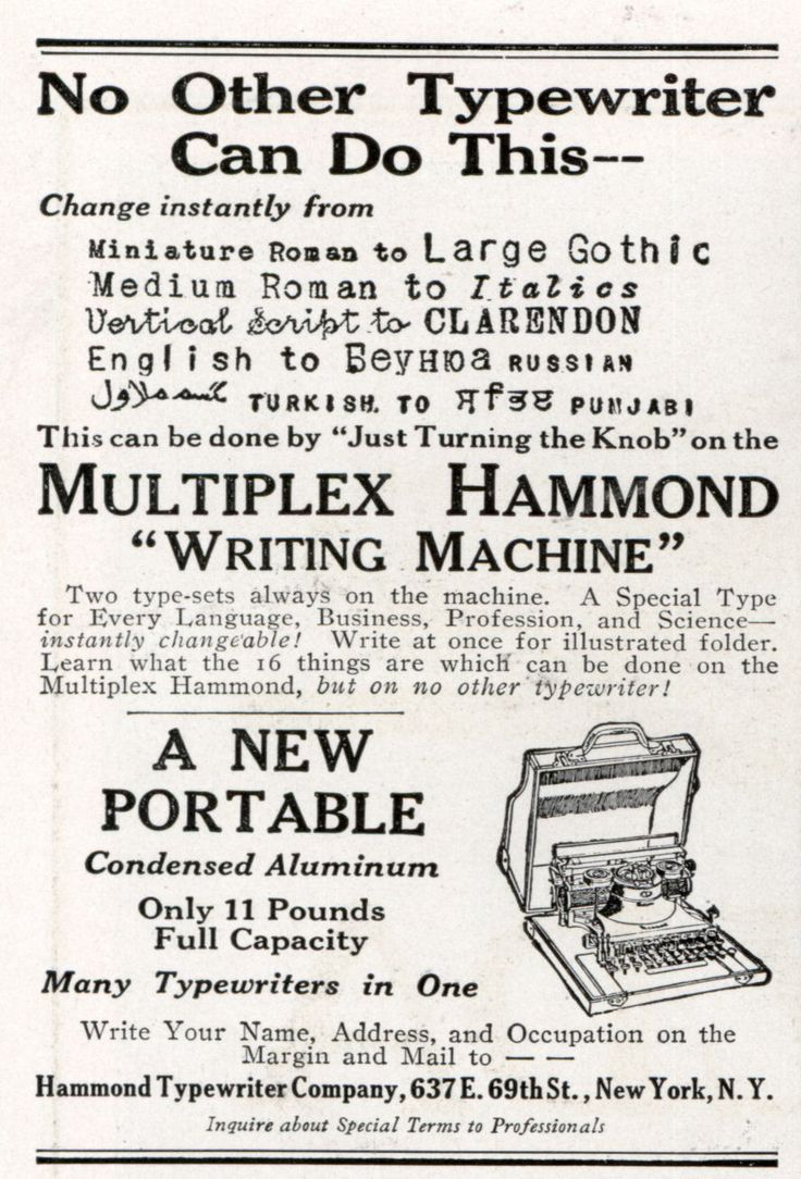 Multiplex Hammond - No other typewriter can do this - Just turning the knob - 1918