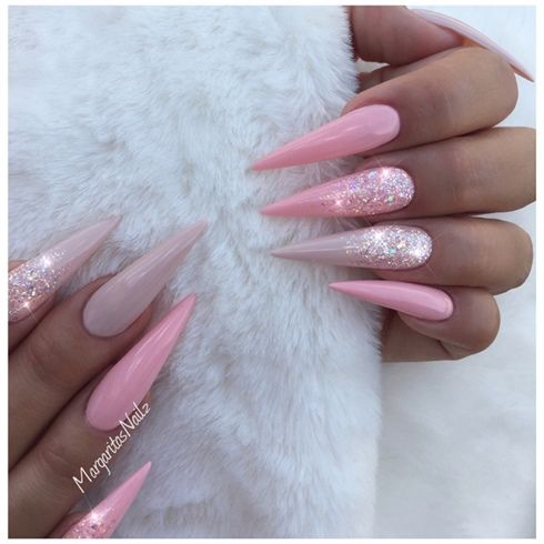 Nude And Pink Stiletto Nails by MargaritasNailz