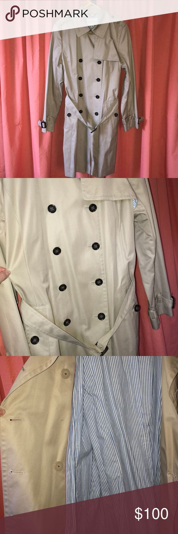 Never worn Banana Republic Trench Coat Never worn! Excellent condition. Khaki colored with brown buttons and buckles. Adjustable belt and sleeves. Double buttons.  Shell & body lining 100% cotton Sleeve lining 58% acetate 42% rayon Banana Republic Jackets & Coats Trench Coats