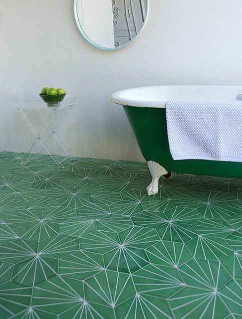 Gorgeous green bathroom tile + matching clawfoot tub. | flickr.com Photo from Danielle de Lange: Bathroom Design, Green Tile, Tile Patterns, Floors, Interiors, Runes, Green Bathroom, Tile Bathroom, Moroccan Tile