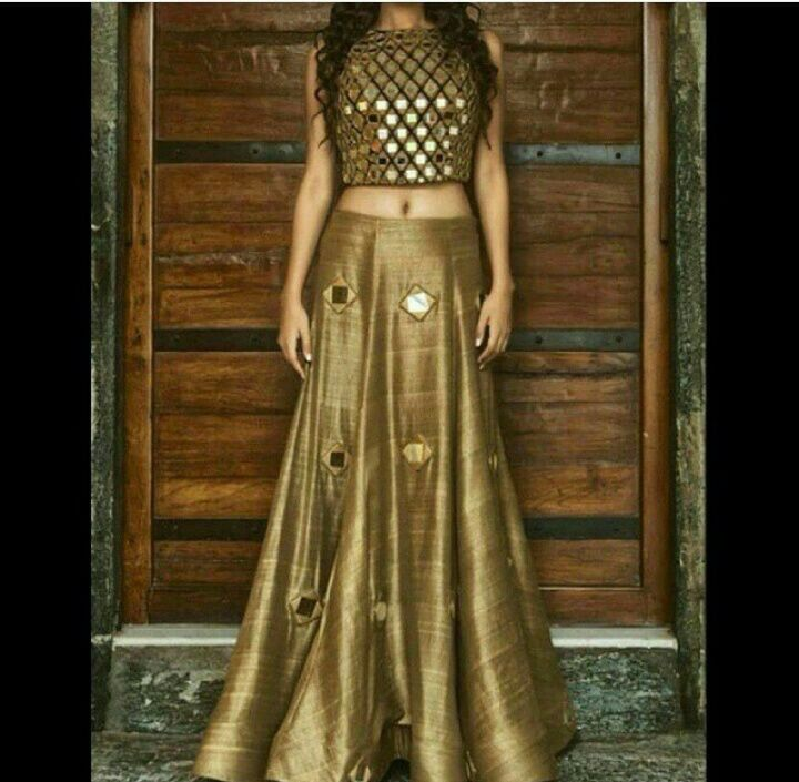 Crop top with long skirt