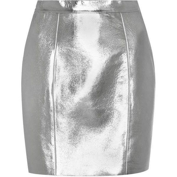 Saint Laurent Metallic Leather Skirt (£1,555) ❤ liked on Polyvore featuring skirts, bottoms, metallic, knee length leather skirt, leather skirt, white skirt, silver metallic skirt and real leather skirt