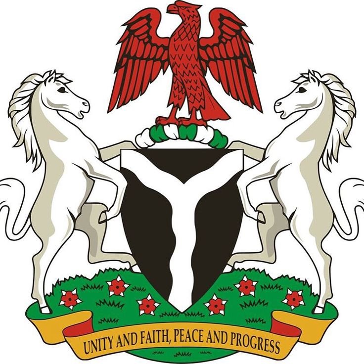 The Nigerian Coat Of Arms (Symbols) The black shield represents Nigeria's fertile soil, while the two horses or chargers on each side represent dignity. The eagle represents strength, while the green and white bands on the top of the shield represent the rich soil.