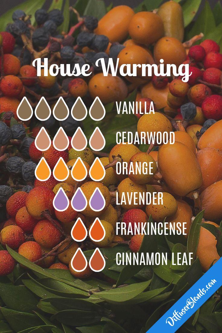 house warming eo blend : vanilla, cedarwood, orange, lavender, frankincense, cinnamon leaf