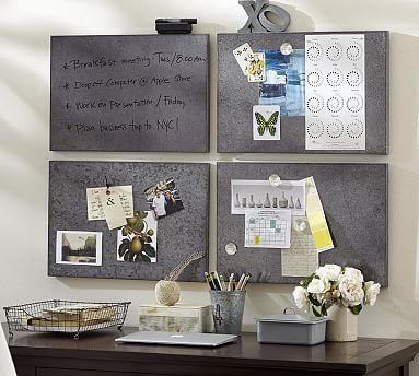 "Modular Galvanized Wipe Board Tile #potterybarn//     20.5"" wide x 14"" high     Galvanized sheet over an MDF frame.     Magnetic.     Includes an eraser and pen."