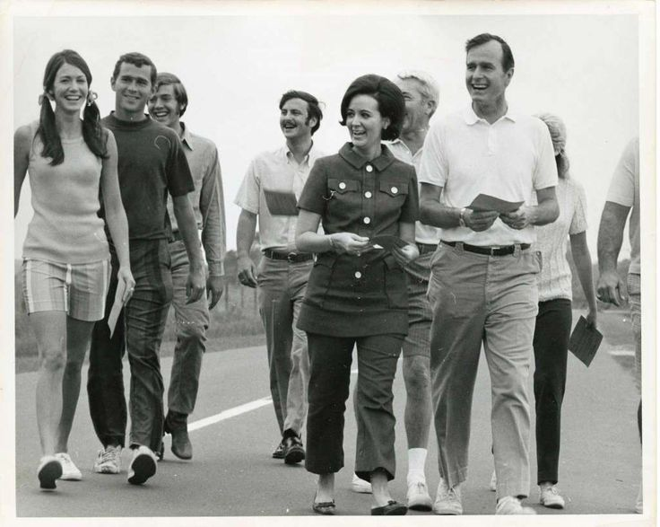 "05/30/1970 - George W. Bush (2nd from left) and his father, U.S. Rep. George H.W. Bush (far right, white shirt) participate in the 20-mile charity,  ""Walk for Mankind.""  Funds were raised for three volunteer service groups. Sponsors were solicited to pay for each mile walked by the participant. Photo: Jim Cox, Houston Chronicle / Houston Post files"