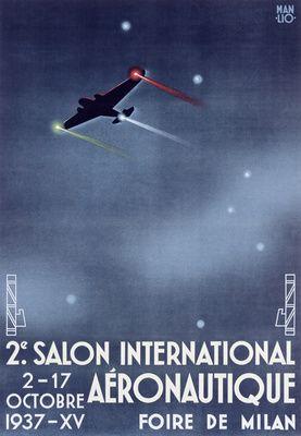 Salon Aeronautique Vintage Poster (artist: Manlio) Italy c. 1937 lanternpress.com