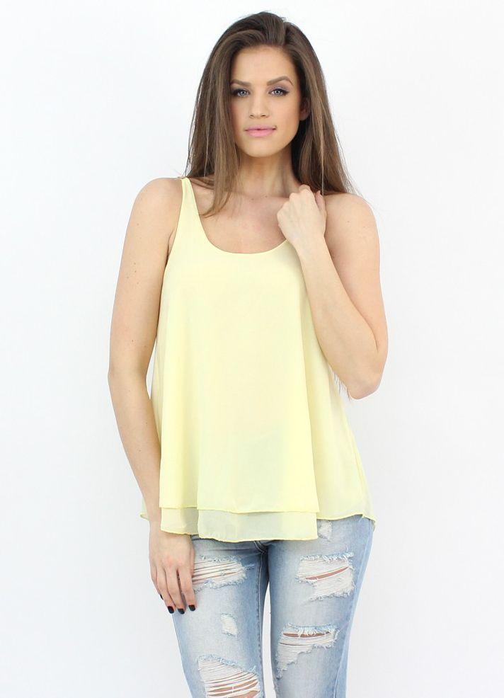 Breezy Yellow Tank Top- http://famevogue.ro/maieu_vaporos_bretele_aurii_969  #shopping #moda #haine #fashion #top #style #casual