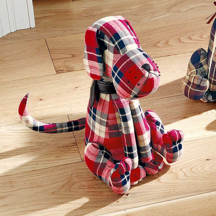 Tartan Dog Door Stop - Who let the dog out? It may be due to this practical and attractive door stop which can even be used as an ornament. A cat version is also available. Height approx. 32.5 cm (13 ins). £25. #dog #tartan #doorstop