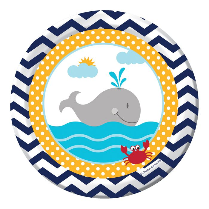 Bring a seafaring look to your party with the Ahoy Matey! Dessert Plates. The 7 inch paper plate features a nautical theme zigzag pattern in navy blue and white around the rim of the plate. A porthole view bordered in sunny yellow polka dots reveals a happy gray whale blowing his spout in the deep blue sea. A small red crab appears in the lower corner to coordinate with the design on all the Ahoy Matey! party supplies. Sized for serving snacks, appetizers and desserts the adorable paper ...