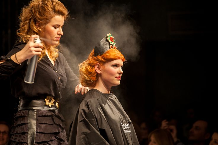 Training for hairstylists by Londa Professional Romania: Creating HOT NEW hairstyles & looks! #londahappymoments #hair #hairstylist #event #show #red