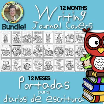 This BUNDLE offers English and Spanish 12 MONTHS Writing Journal Covers and 12 MESES Portadas para diarios de escritura OWL themed. The covers are just that! But if you like OWLS, this set might just be right for you! Making writing journals for your
