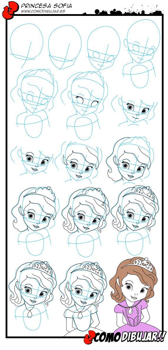 Como dibujar a la princesa Sofia de Disney: http://www.comodibujar.es/tutoriales-dibujo/como-dibujar-a-la-princesa-sofia/