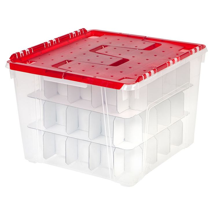 Plastic Lid Christmas Ornament Storage Box - At Home | At Home