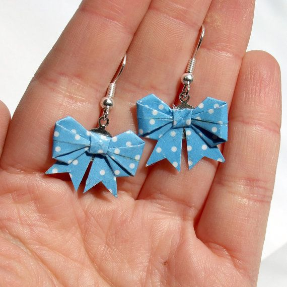 Origami bow earrings made with blue polka dots origami by yael360, $7.50