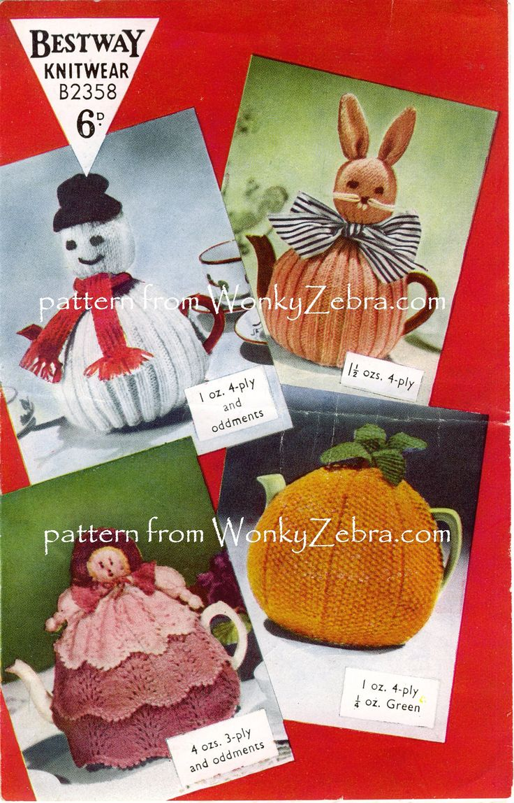 WZ894 Very vintage pattern for four tea cosies in novelty designs, good for seasonal celebrations. An Easter bunny , snowman,doll an orange / pumpkin  A fab set of varied designs for tea cosy fans!
