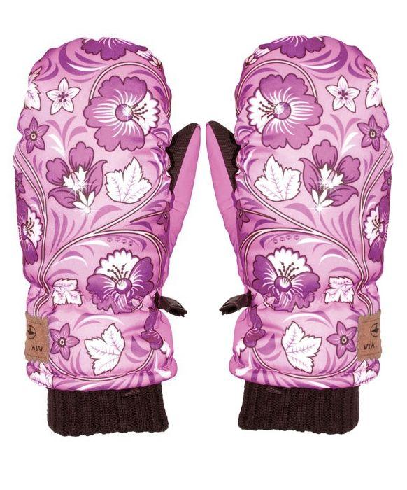 rękawiczki dla dziewczynki, idealne na #zimową pogodę, piękny wzór kwiatowy, Viking