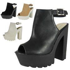 Nouvelle robe mesdames bottes à crampons bout ouvert plateforme talon haut chaussure sandales taille boot