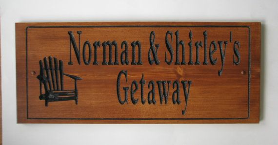 Stained Carved Wood Cottage Sign w Chair by RCOriginalsGallery