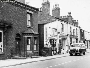 The view across the road from our shop on  Old Church St, Newton Heath towards the White Lion Pub.Can you believe it was just 11d for a pint of mild in 1960.(Over 20 Pints for £1)