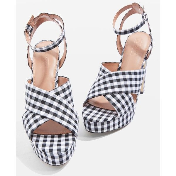 TopShop Madrid Gingham Cross Strap Platform Heels ($52) ❤ liked on Polyvore featuring shoes, pumps, high heel platform shoes, gingham shoes, high heel platform pumps, gingham pumps and high heel shoes