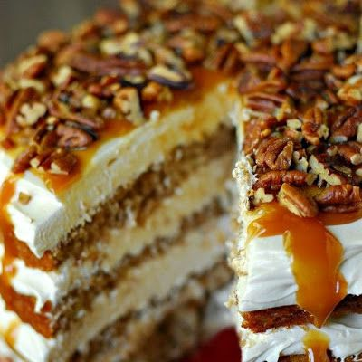 Caramel Apple Mousse Cake @keyingredient #cake #cheese #caramel
