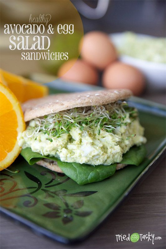 Healthy Avocado & Egg Salad Sandwiches // serve over big bed of greens to go low carb via Tried and Tasty #clean #protein