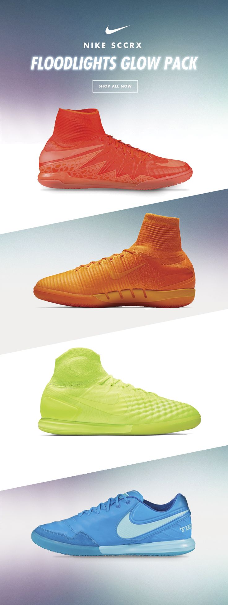 SCCRX Floodlights Glow pack Featuring new vivid hues for all the Nike SCCRX silos (Hypervenom X, Mercurial X, Magista X and Tiempo X), the pack also includes an unique attribute: each shoe has a glow-in-the-dark Nike Swoosh logo and outsole to enhance visibility in closed spaces and night hours. Now available at WorldSoccerShop.com