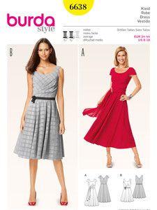 burda style: Damen - Kleider - Cocktailkleider - Cocktailkleid – Abendkleid – weiter Rock – Rückendekolleté