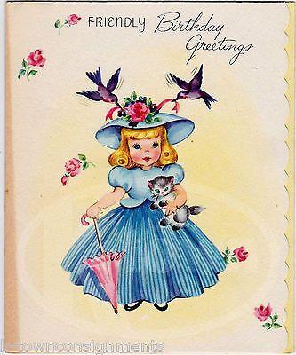 Happy Birthday Friend Cute Little Bo Peep Girl & Kitten Vintage Greetings Card