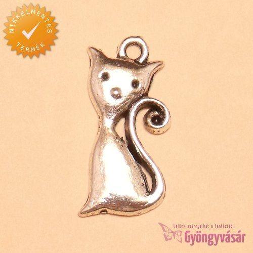 Ezüstszínű Cirmi cica - nikkelmentes fém zsuzsu / fityegő