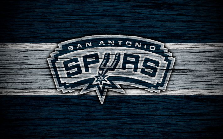 Download wallpapers 4k, San Antonio Spurs, NBA, wooden texture, basketball, Western Conference, USA, emblem, basketball club, San Antonio Spurs logo