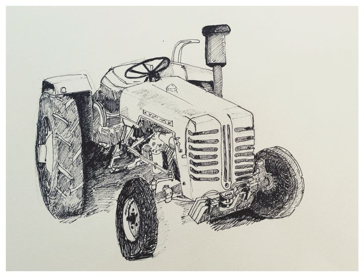 Tractor, farm, drawing