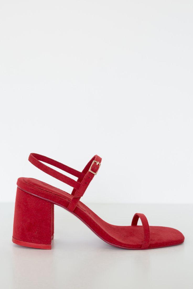 Rafa Vegan Suede Simple Sandal - Red - Vegan Textiles - This style is narrow but…