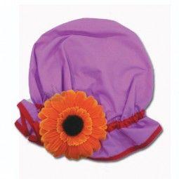 Gorro de ducha flor naranja sin tul $11.99 euros. - Gorro de ducha fabricado en polipropileno     - Con goma para mejor ajuste.    - Decorado con flor naranja.