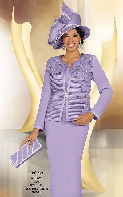 Ben Marc International Womens Lilac 3pc Church Suit 47145