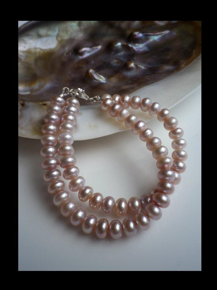 Light Pink Fresh Water Pearl & Sterling Silver Double Strand Bracelet:  http://www.facebook.com/ZadiaDesigns