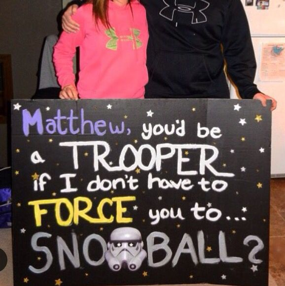 How to ask a guy to prom, snoball, etc. Star Wars themed :)