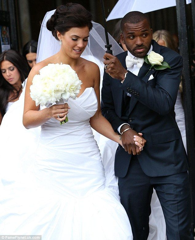 Happy couple: Darren Bent wed model Kirsty Maclaren at Ely Cathedral in Cambridge on Saturday