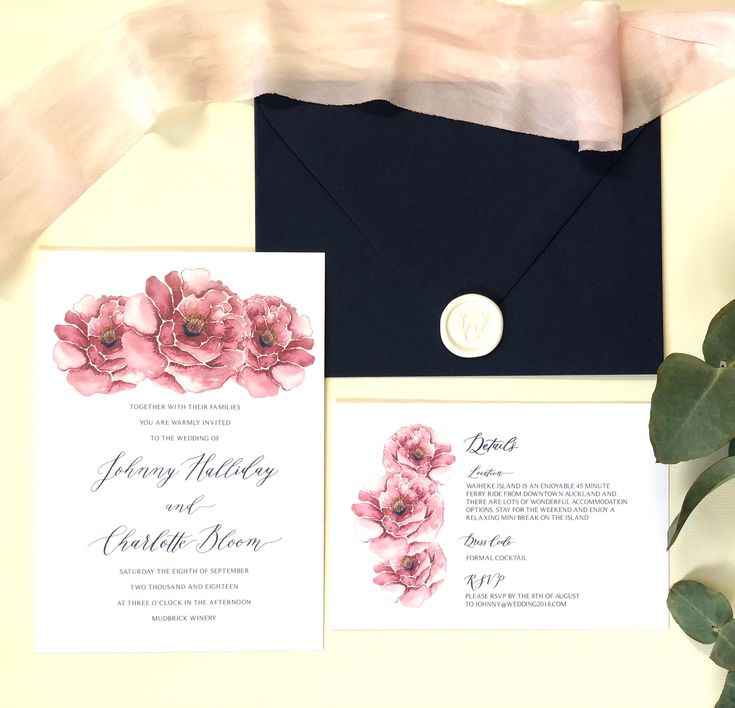 Peonies and calligraphy-the perfect combination. Navy blue and plum wedding invitation suite.