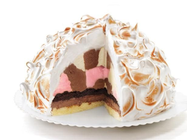 This can't miss Baked Alaska is topped with a fluffy meringue. It's easier to make than it looks!
