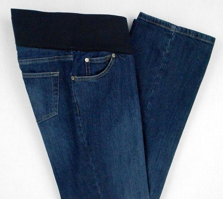 Liz Lange Maternity Jeans Blue Denim Size 8 Cotton Spandex Under Belly Target -An under-the-belly band and faux fly front are features of  these womens denim stretch maternity jeans.