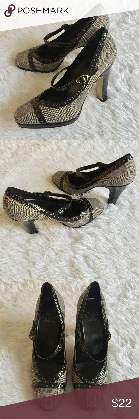 "Circa Joan & David Heels These are cute as a button / Excellent Condition / Fabric Upper / Black & Creme w/ red & gold thread tweed / 4"" Heel Joan & David Shoes Heels"