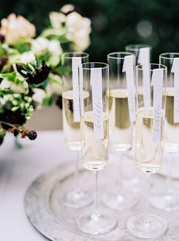 Top 5 Glamorous Wedding Trends 2016 - MODwedding Trend 3: CHAMPAGNE ESCORT CARDS http://www.modwedding.com/2016/01/top-5-glamorous-wedding-trends-2016/